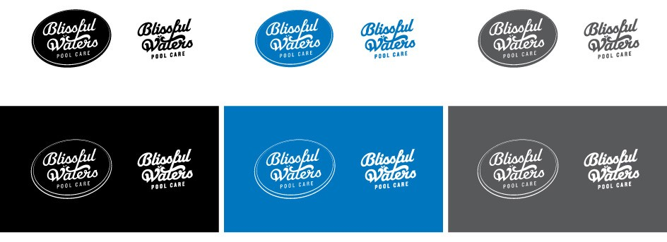 Blissful Waters Pool Care Logo Color Options