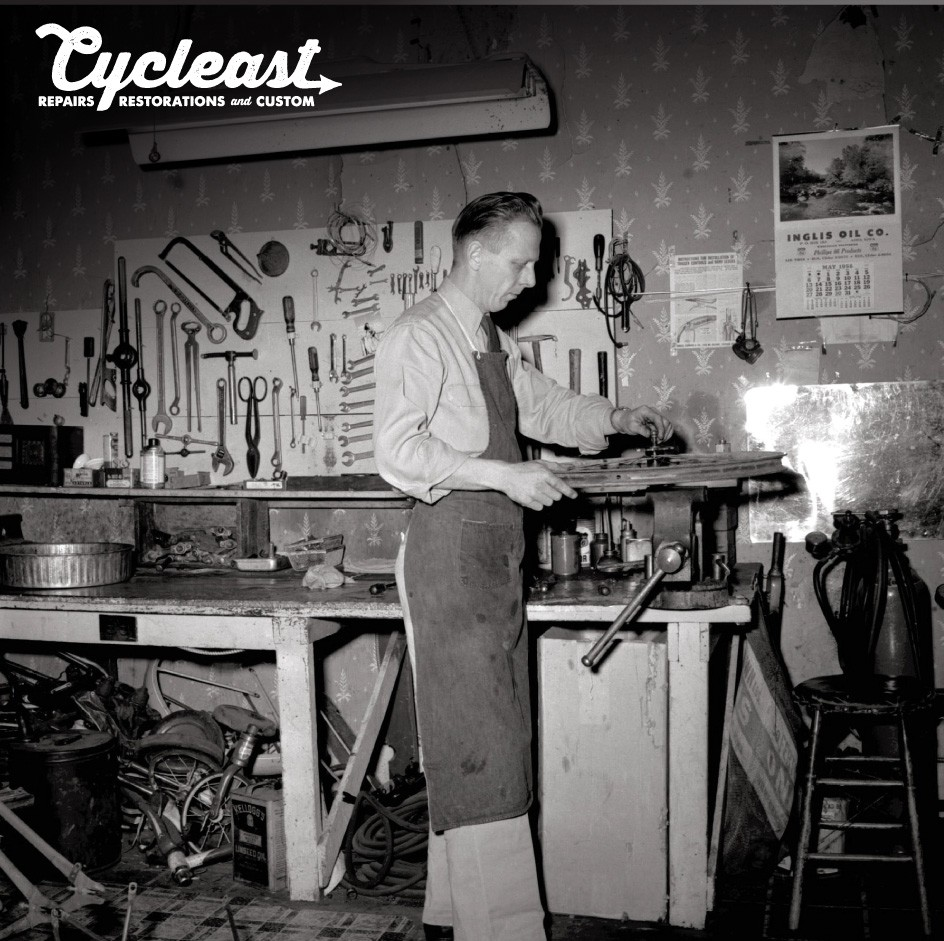 Cycleast-Repairs-Restorations-Custom-Bicycles-Bikes-Shop-Store-East-Austin-Russell-Pickavance-Photo-Style-Black-and-White-Script