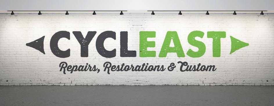 Cycleast-Repairs-Restorations-Custom-Bicycles-Bikes-Shop-Store-East-Austin-Russell-Pickavance-San-Serif-Logo-Painted-Wall
