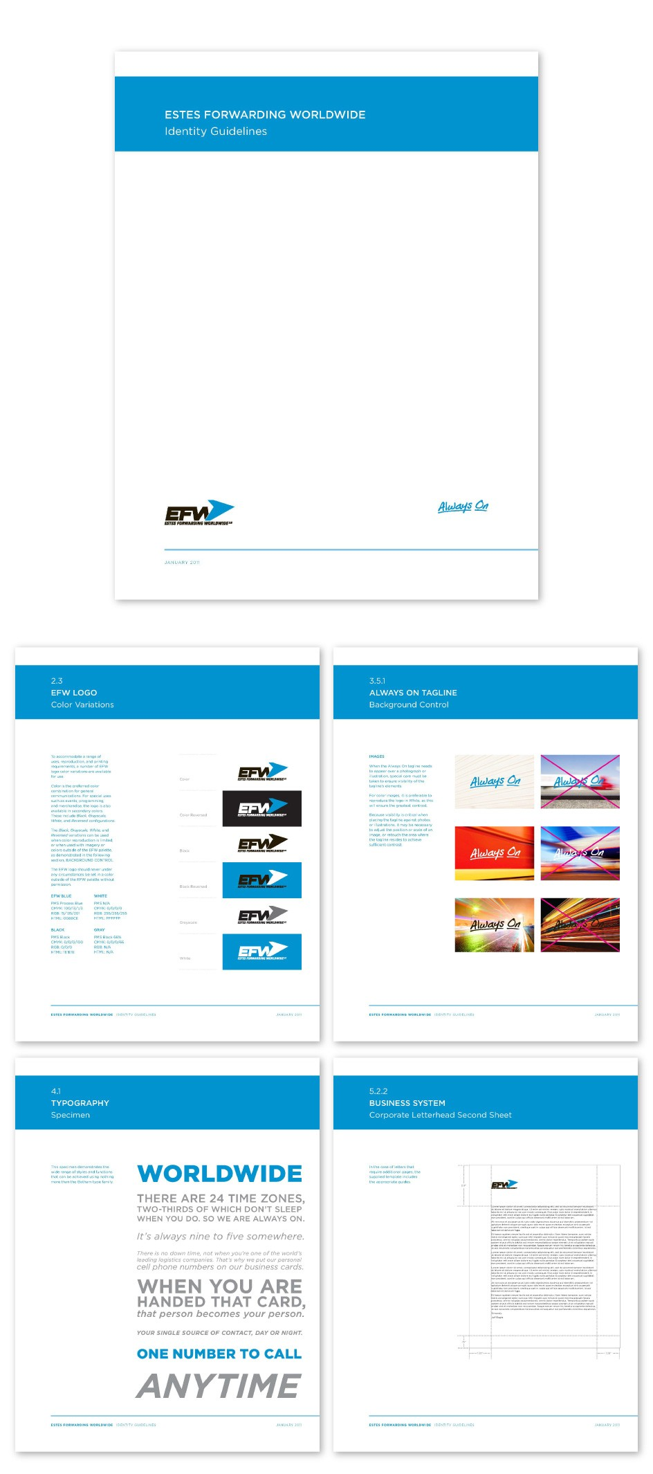 EFW-Estes-Forwarding-Worldwide-Global-Freight-Logistics-Re-Brand-Branding-Logo-Identity-UPS-FEDEX-Old-Dominion-Delivery-Train-Truck-Ship-Shipping-Identity-Guidelines-Brand-Standards-Manual