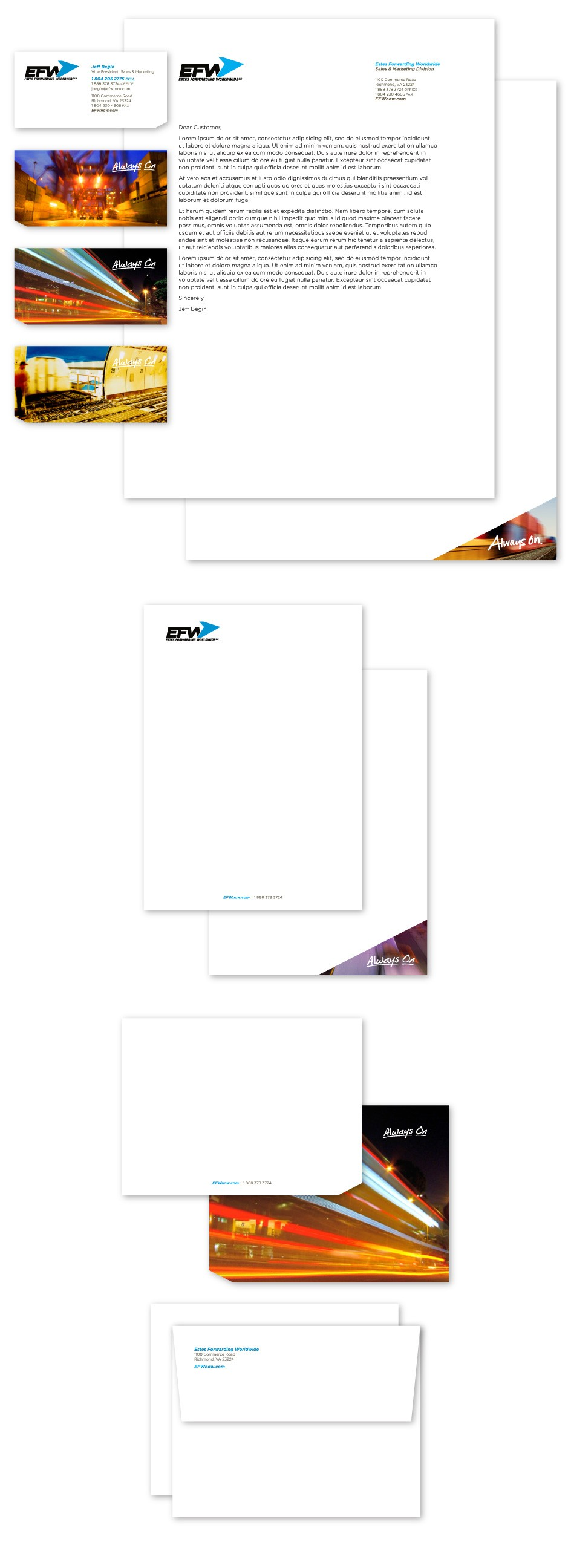 EFW-Estes-Forwarding-Worldwide-Global-Freight-Logistics-Re-Brand-Branding-Logo-Identity-UPS-FEDEX-Old-Dominion-Delivery-Train-Truck-Ship-Shipping-Stationery-System