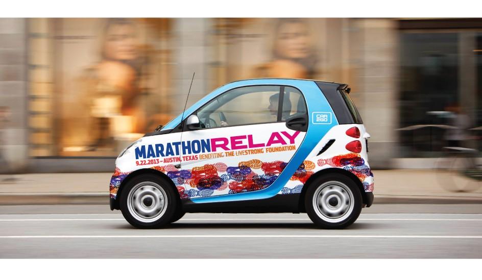 Livestrong Foundation Marathon Relay Logo Vehicle Wrap