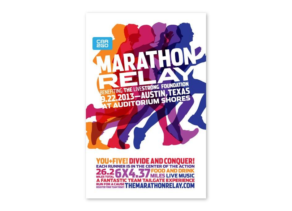 Livestrong Foundation Marathon Relay Logo Poster